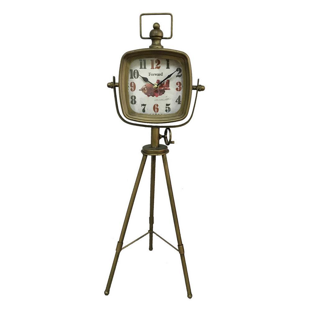 25 in. Gold Metal Table Top Clock
