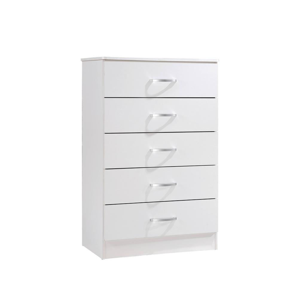 5-Drawer White Chest