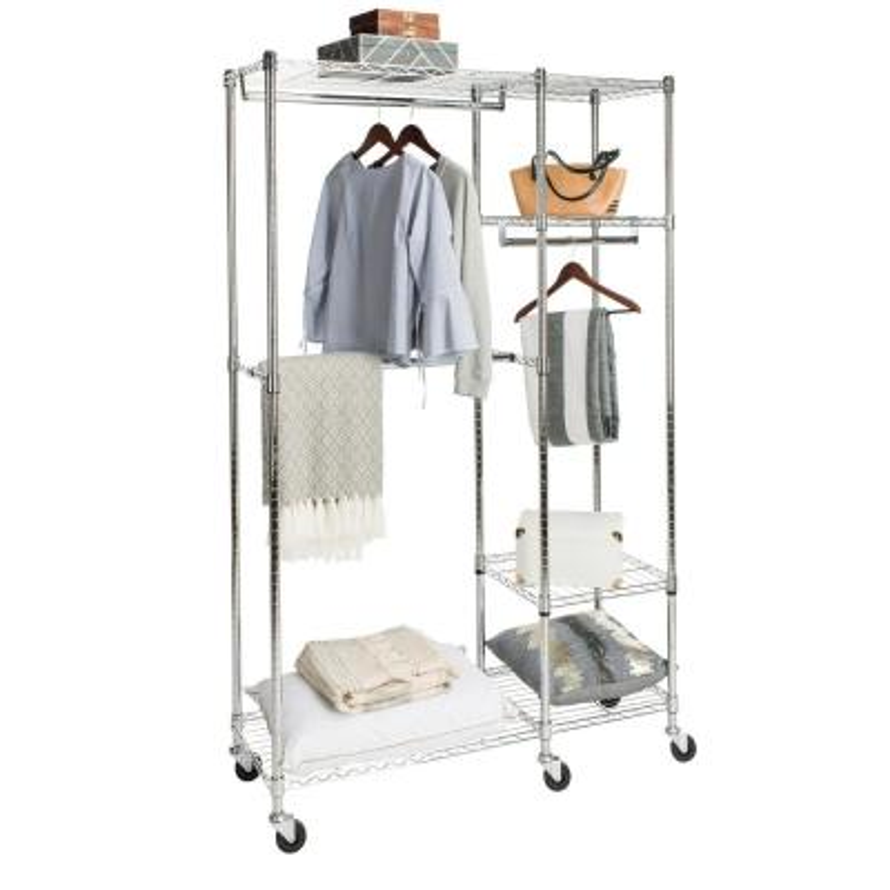 Cayla 47.2 in. x 74 in. Chrome Garment Rack