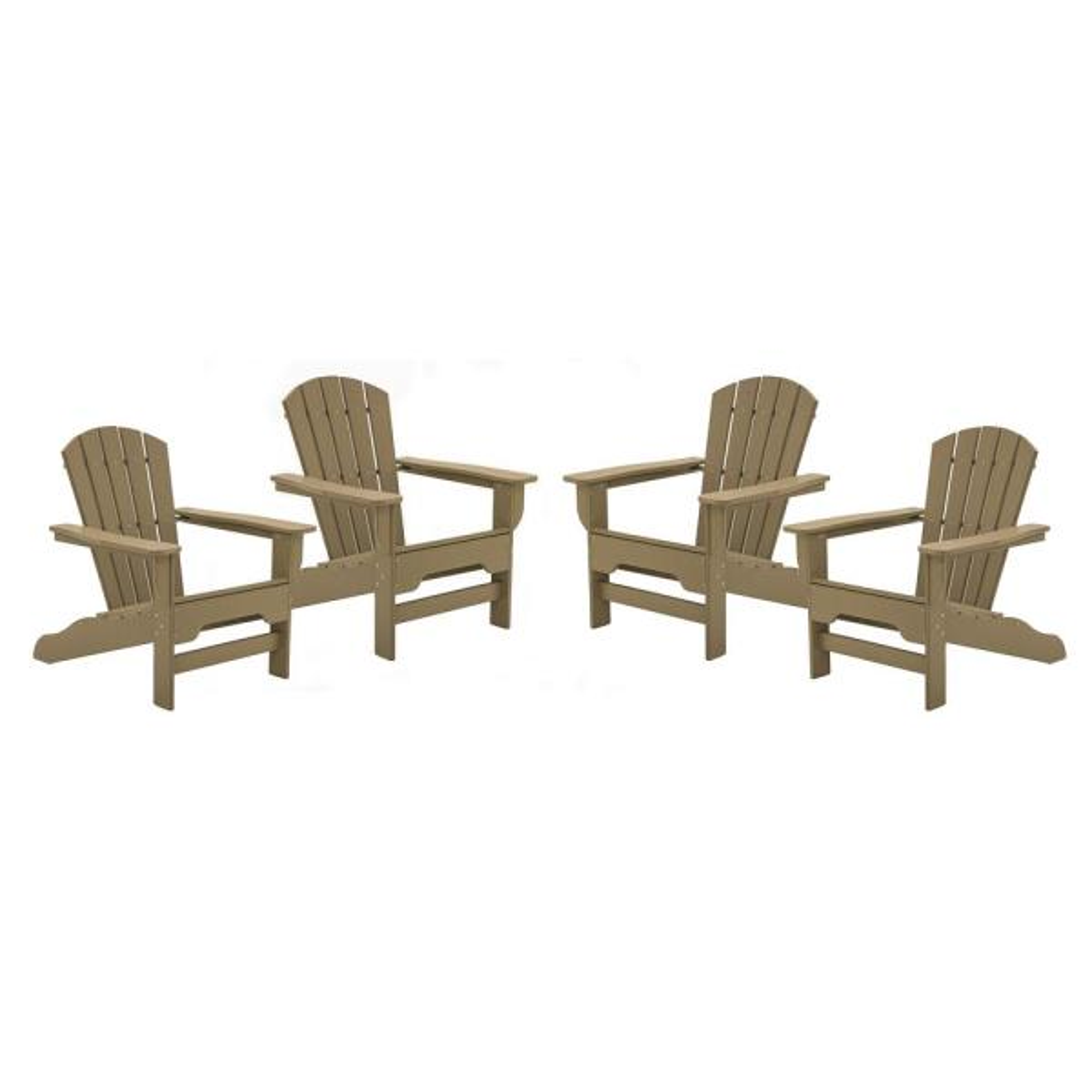 Boca Raton Weathered Wood Recycled Plastic Curveback Adirondack Chair (4-Pack)