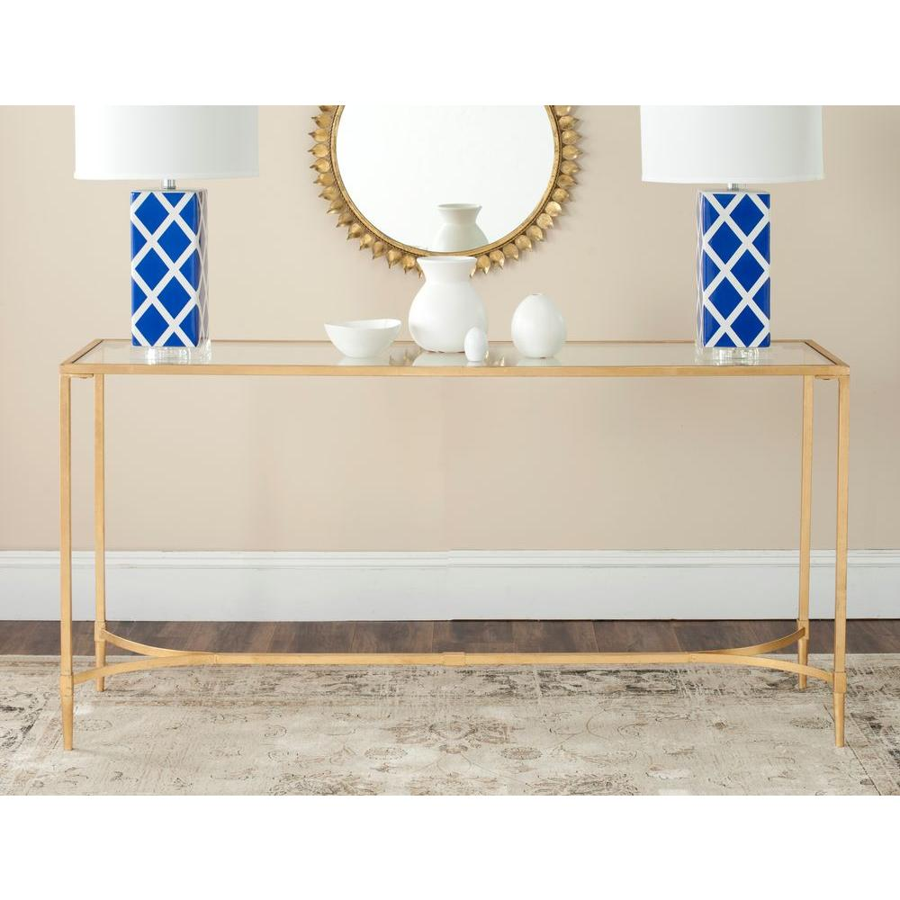 Safavieh Antwan Gold Tempered Gl Top Console Table