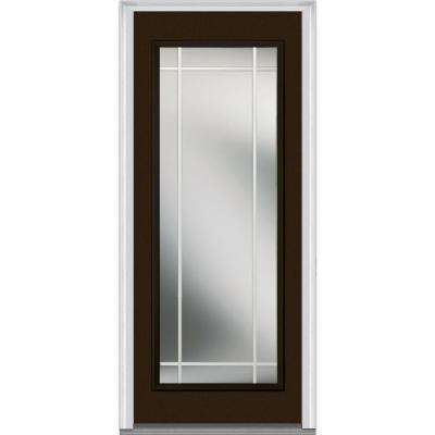 32 in. x 80 in. Internal Grilles Right-Hand Inswing Full Lite Clear Painted Fiberglass Smooth Prehung Front Door