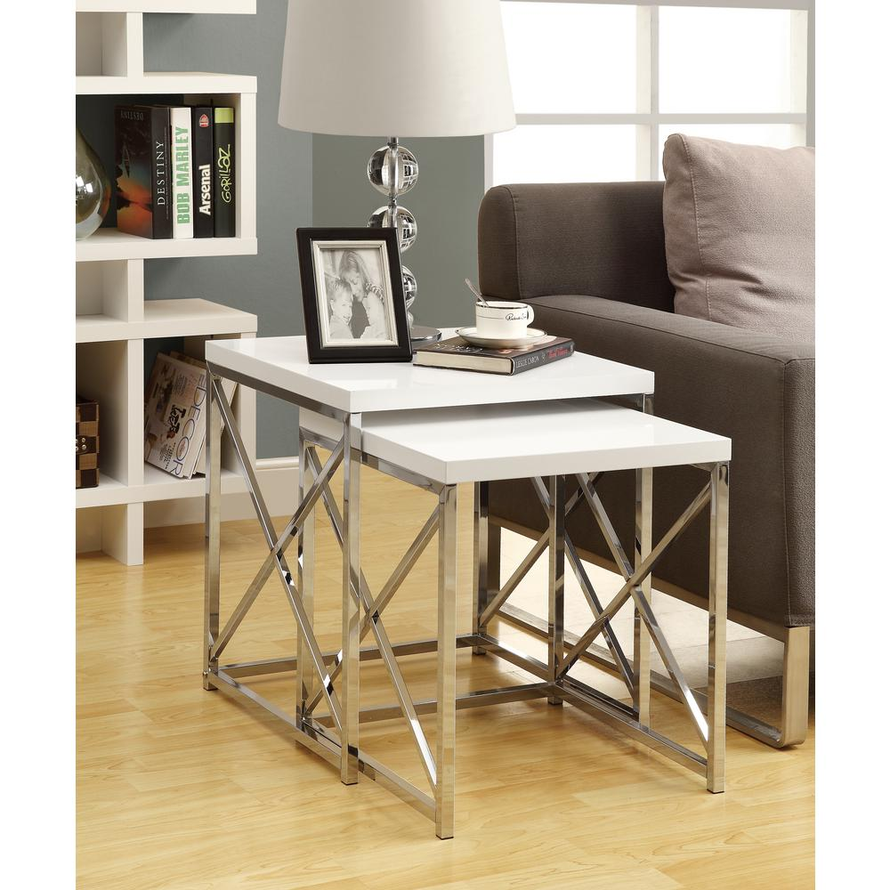 Monarch Specialties Glossy White 2-Piece Nesting End Table-I 3025 ...