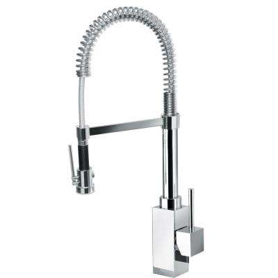 Dax Single-Handle Pull-Down Sprayer Kitchen Faucet with High-Arc Spring Spout in Chrome
