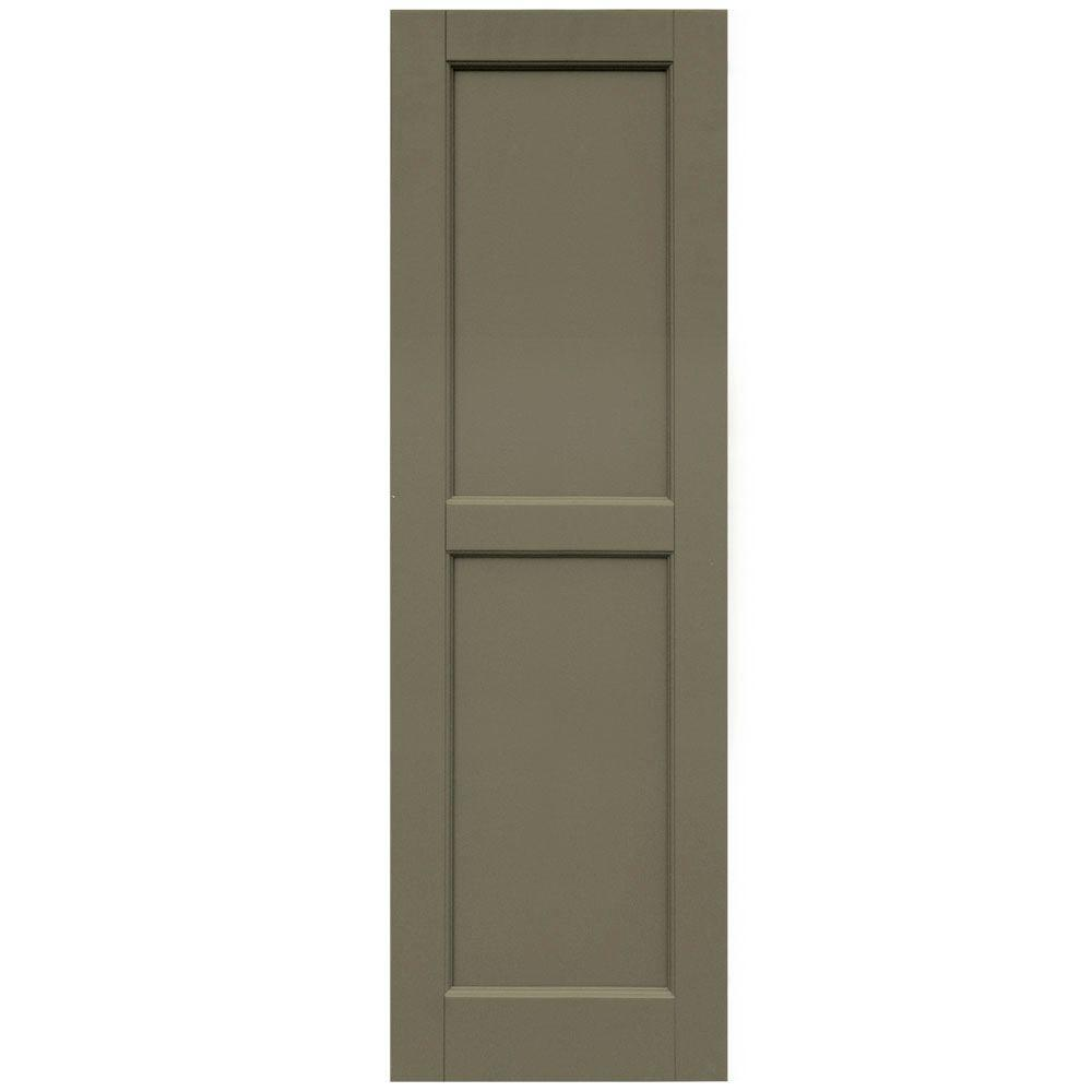Winworks Wood Composite 15 in. x 48 in. Contemporary Flat Panel Shutters Pair #660 Weathered Shingle
