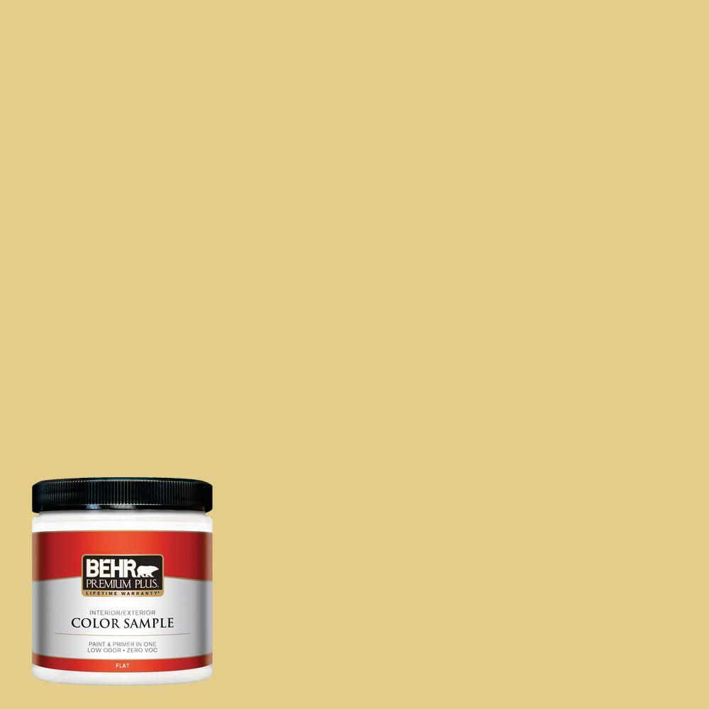 BEHR Premium Plus 8 oz. #T12-6 Lol Yellow Zero VOC Interior/Exterior Paint Sample