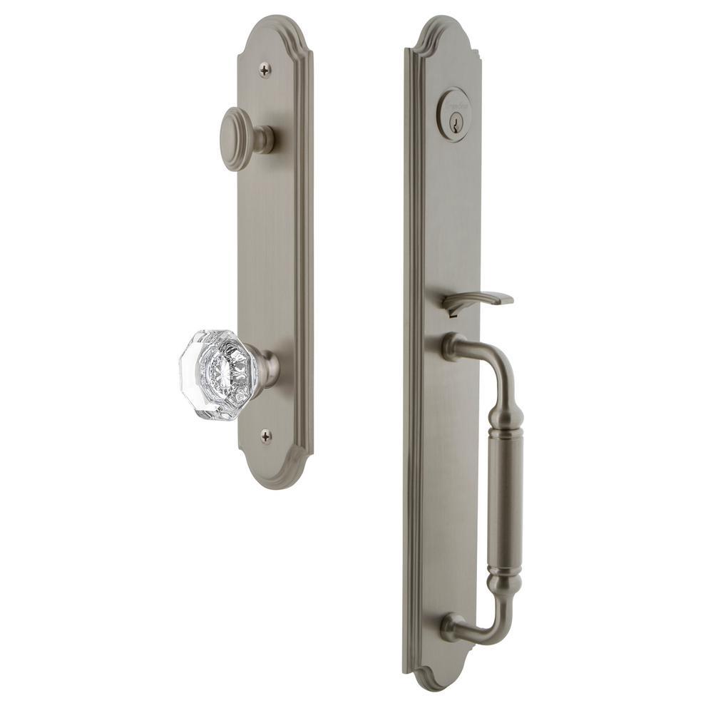 Arc 1-Piece Satin Nickel Door Handleset with C Grip and Chambord Knob