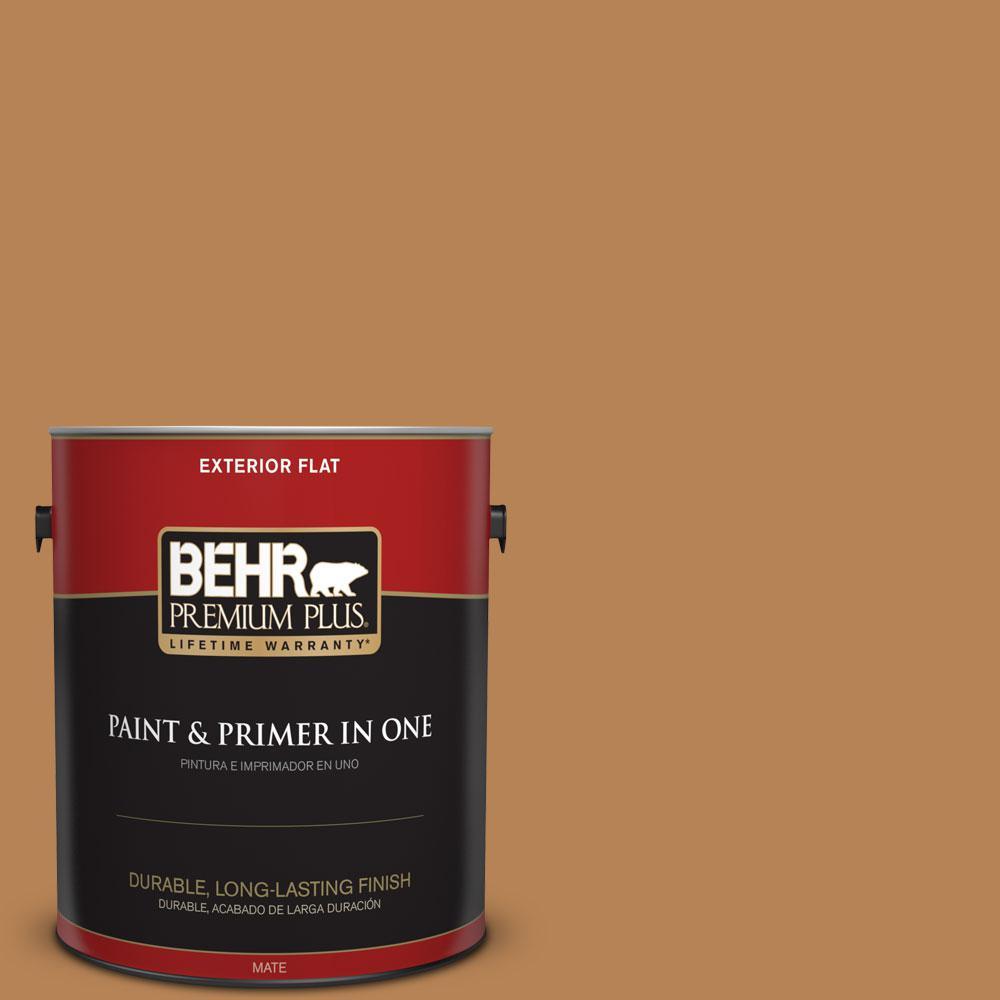 BEHR Premium Plus 1-gal. #S250-5 Roasted Cashew Flat Exterior Paint