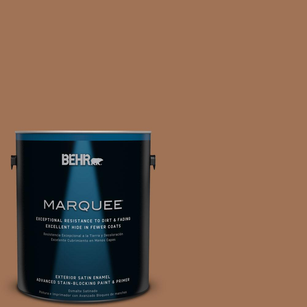 BEHR MARQUEE 1-gal. #S240-7 Leather Work Satin Enamel Exterior Paint, Ranch Brown