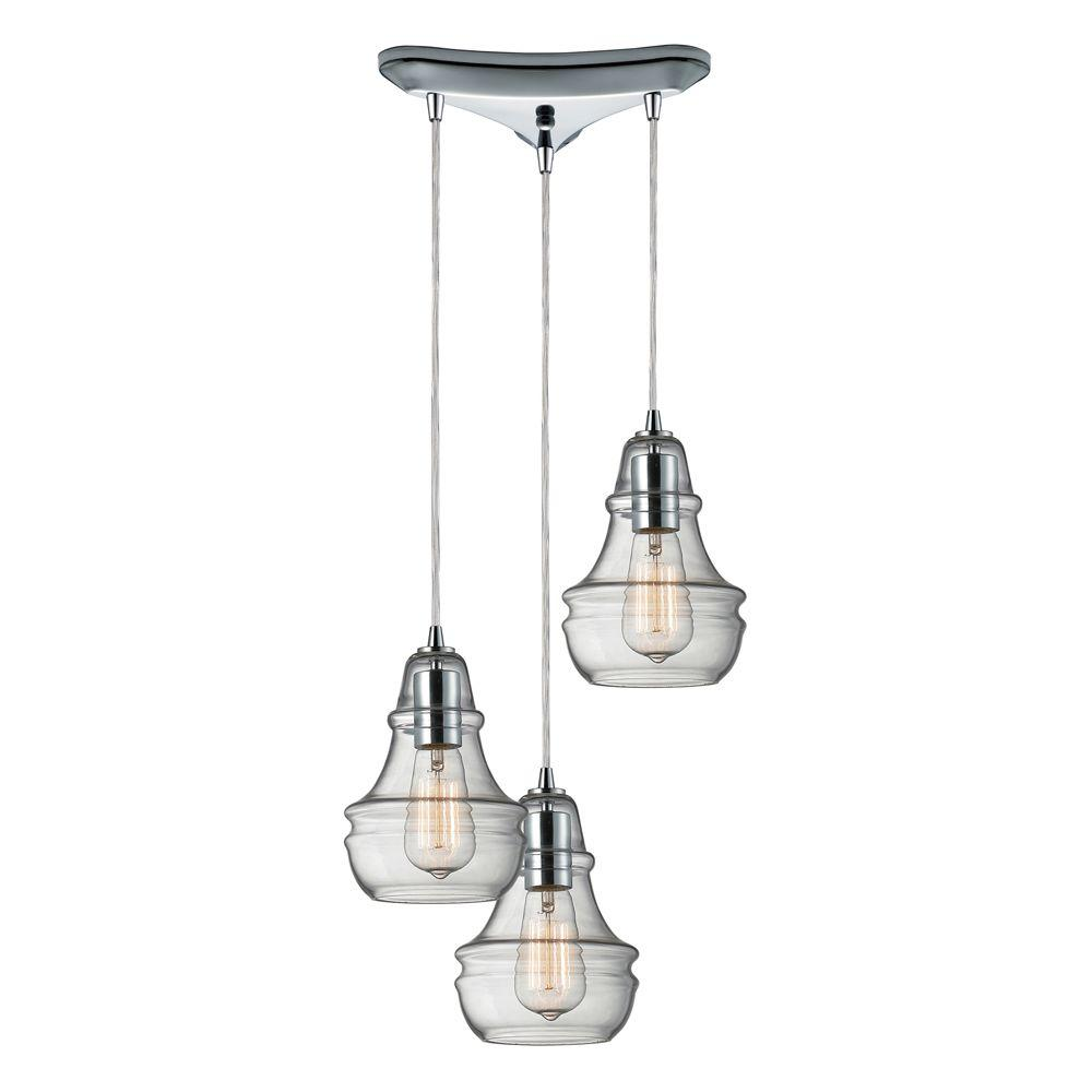 Titan Lighting Menlow Park 3-Light Polished Chrome Ceiling Mount Pendant