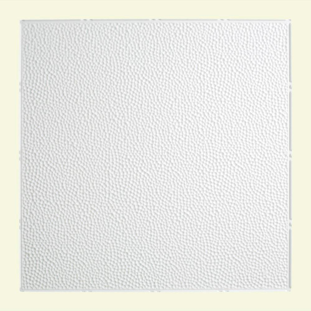 Fasade Hammered - 2 ft. x 2 ft. Lay-in Ceiling Tile in Gloss White
