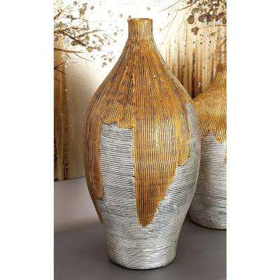 White and Gold Lacquered Bamboo Decorative Vase