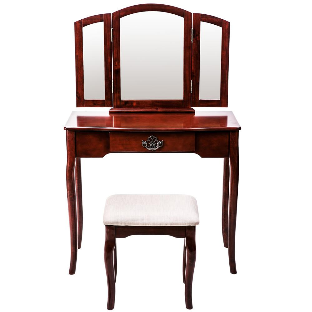 33.3 in. D x 51.6 in. H Red Brown Vanity Set Makeup Dressing Table with Mirror and Cushioned Stool