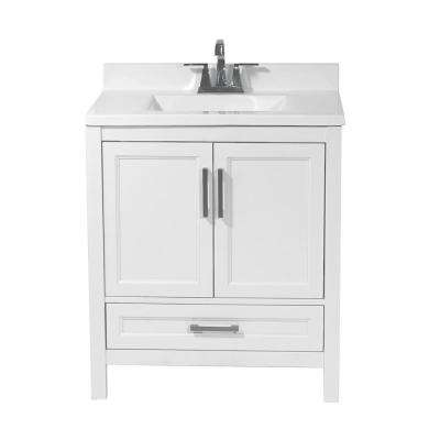 Salerno 31 in. Bath Vanity in White with Cultured Marble Vanity Top with Backsplash in White with White Basin