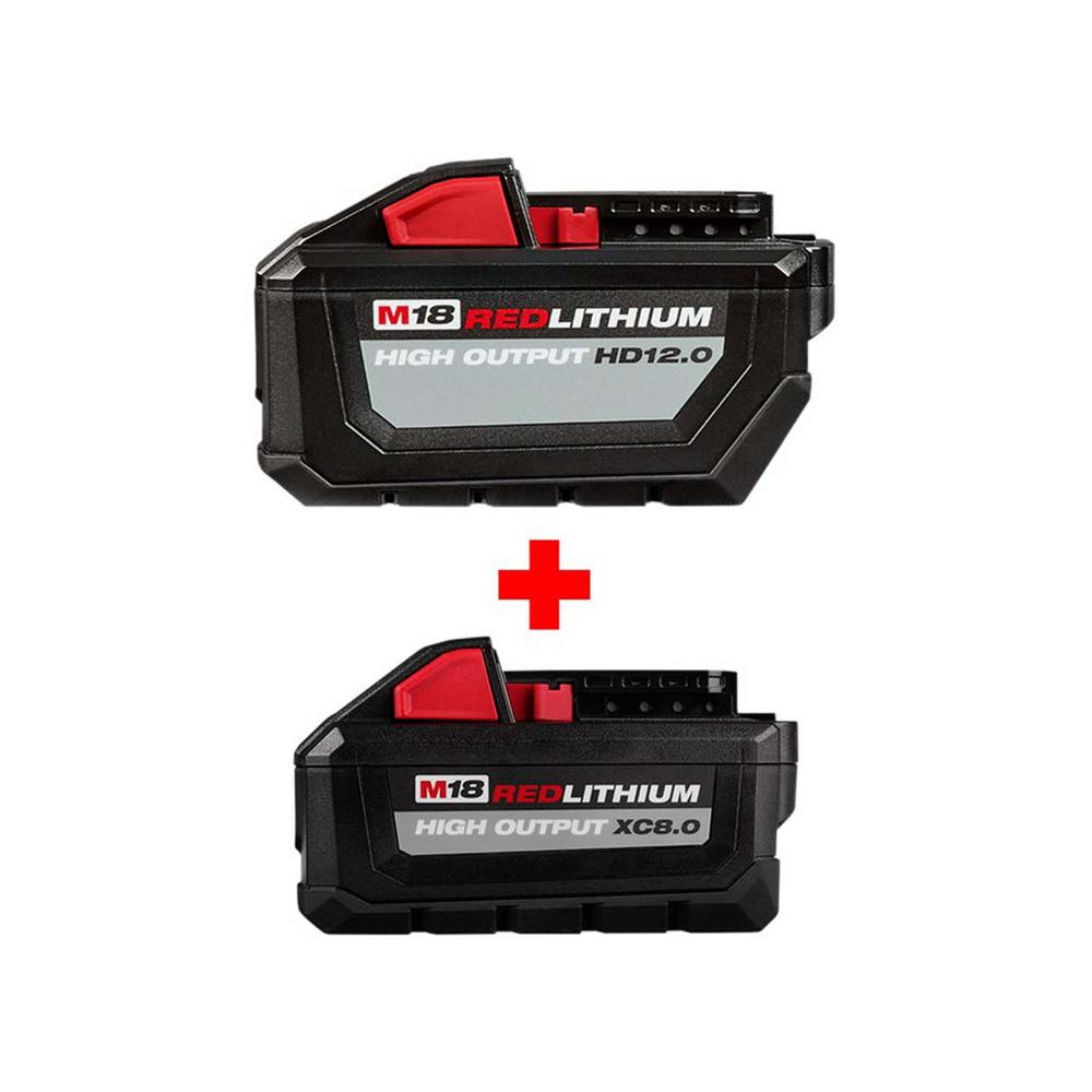 Milwaukee M18 18-Volt Lithium-Ion High Output Battery Pack 12.0Ah W/ HIGH OUTPUT XC 8.0Ah Battery