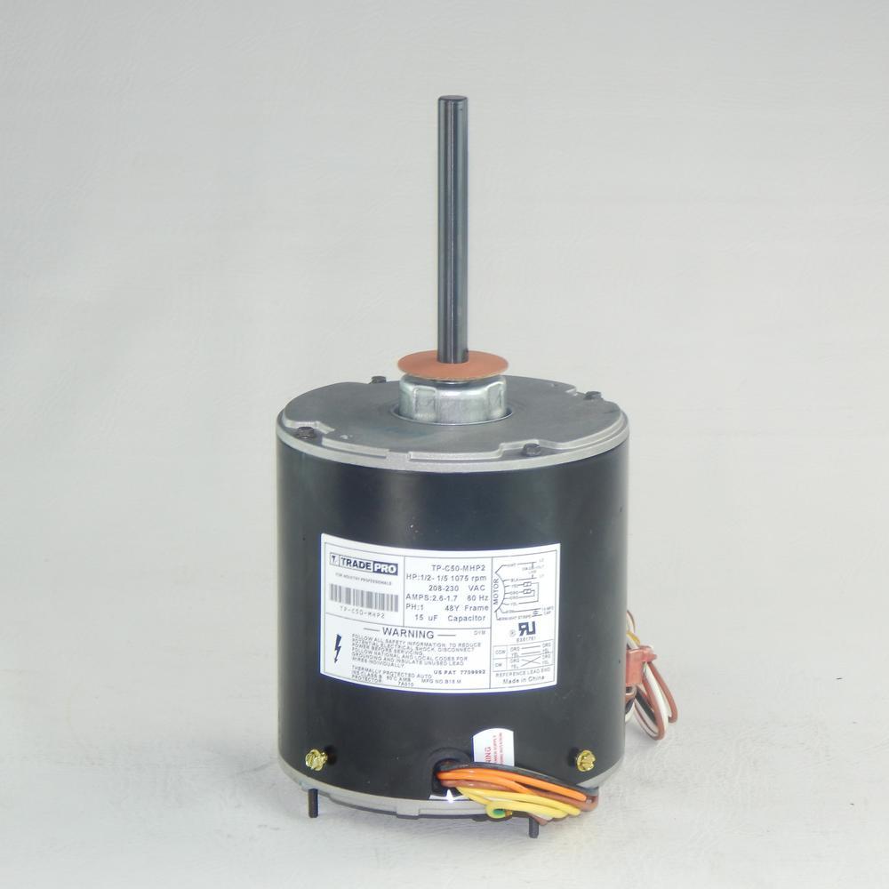 Replacement Condenser Fan Motor 1/2 Multi-Horsepower 1075 RPM 230-Volt