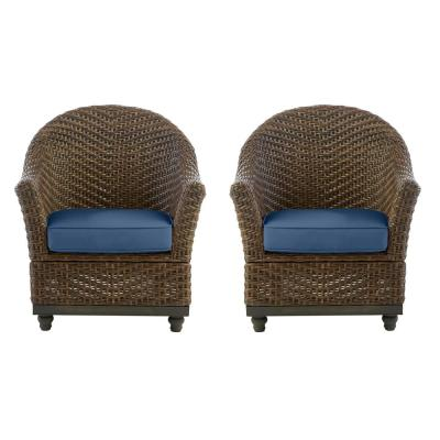 Camden Dark Brown Wicker Outdoor Porch Lounge Chair with CushionGuard Sky Blue Cushions (2-Pack)