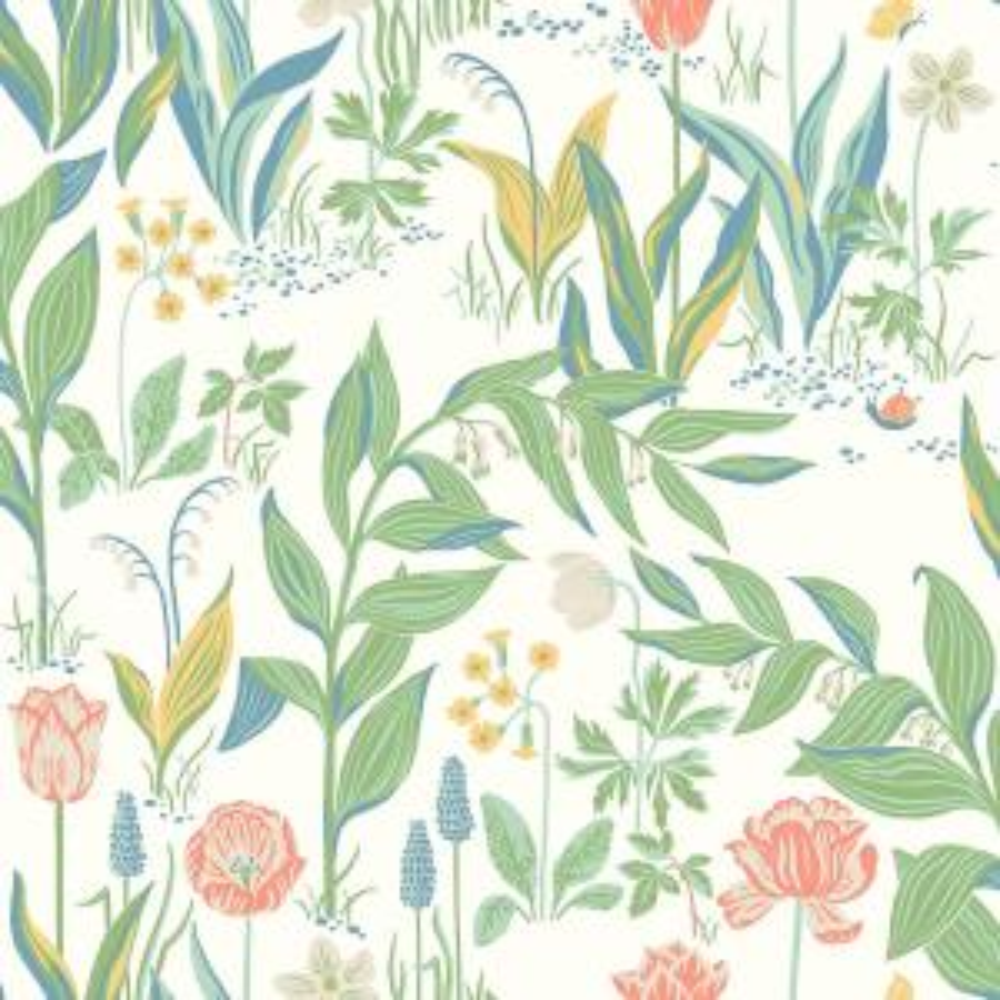 57.8 sq. ft. Spring Garden Off-White Botanical Wallpaper