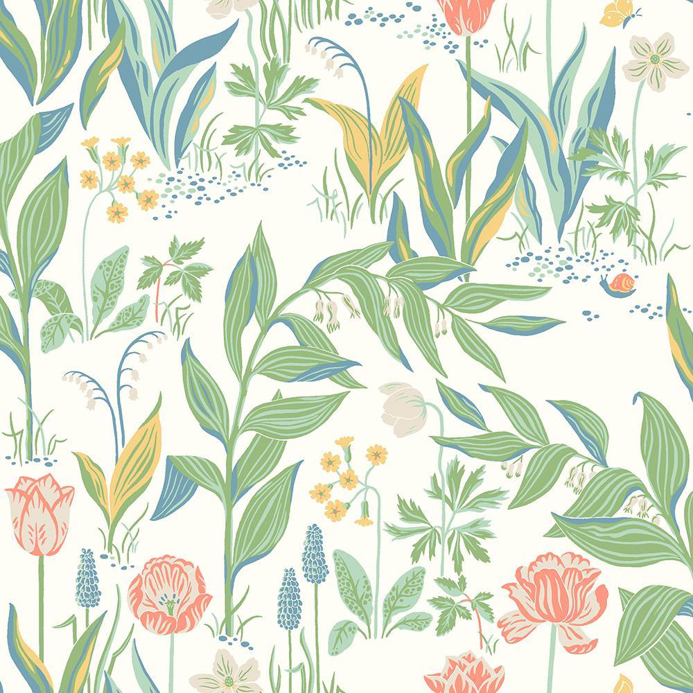 Spring Garden Off-White Botanical Wallpaper Sample
