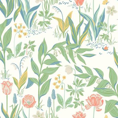 Spring Garden Off-White Botanical Wallpaper Sample