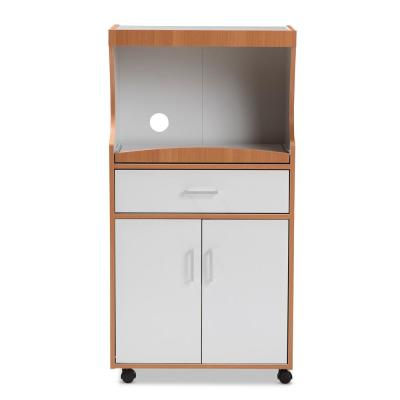 Edonia White and Brown Kitchen Cart