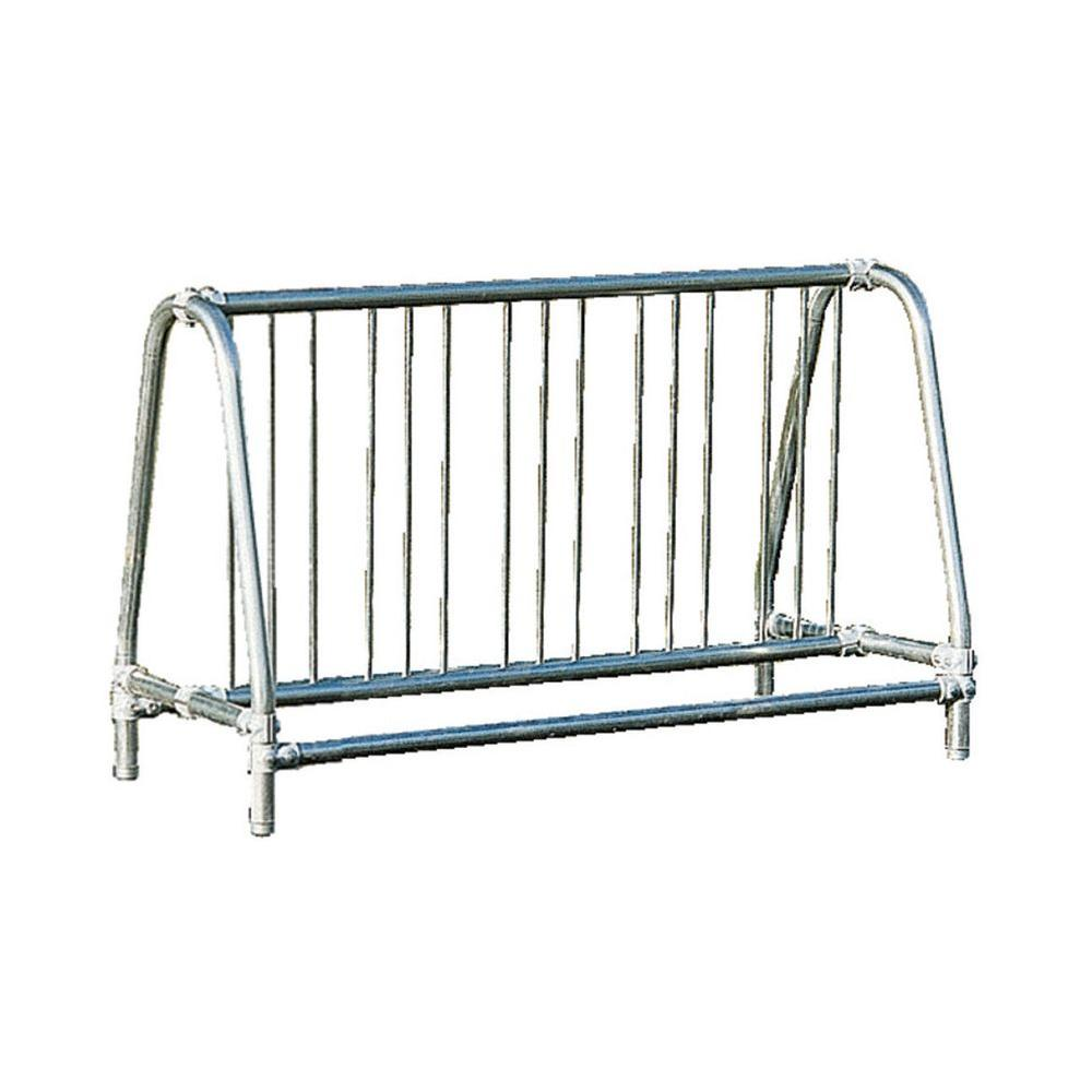 Ultra Play 5 ft. Galvanized Commercial Park Traditional Double Sided Portable Bike Rack