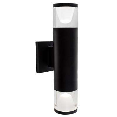 13 in. x 3 in. Luvia Black LED Outdoor Wall Mount Cylinder Light