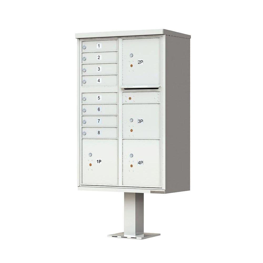 1570 Series 8 Mailboxes, 1 Outgoing Compartment, 4 Parcel Lockers, Vital Cluster Box Unit