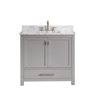 Modero 37 in. W x 22 in. D x 35 in. H Vanity in Chilled Gray with Marble Vanity Top in Carrera White and White Basin