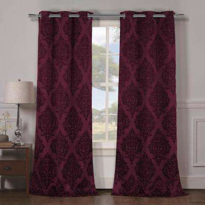 Catalina 84 in. L x 38 in. W Polyester Blackout Curtain Panel in Wine (2-Pack)