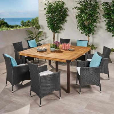Marca 30 in. Teak Brown 9-Piece Wood Square Outdoor Dining Set with White Cushions