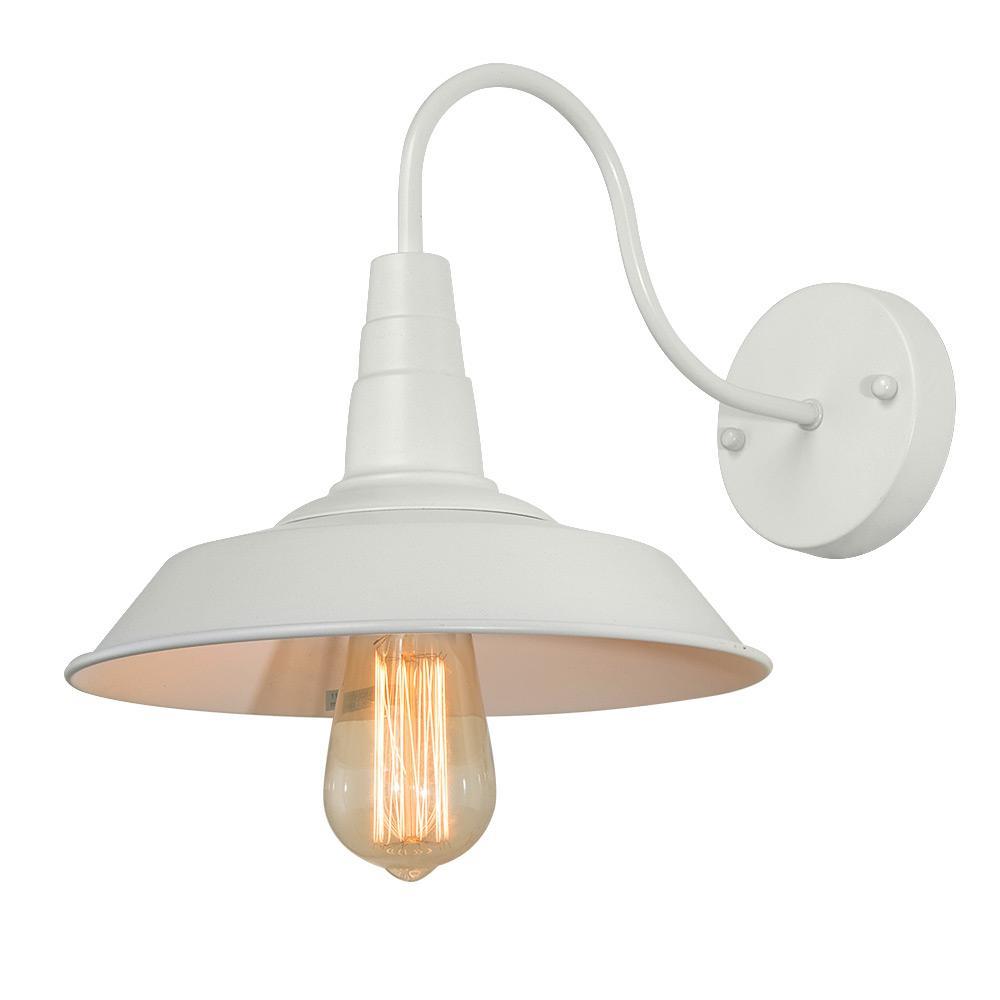 1-Light 10 in. White Gooseneck Wall Sconce Compatible LED Barn Light