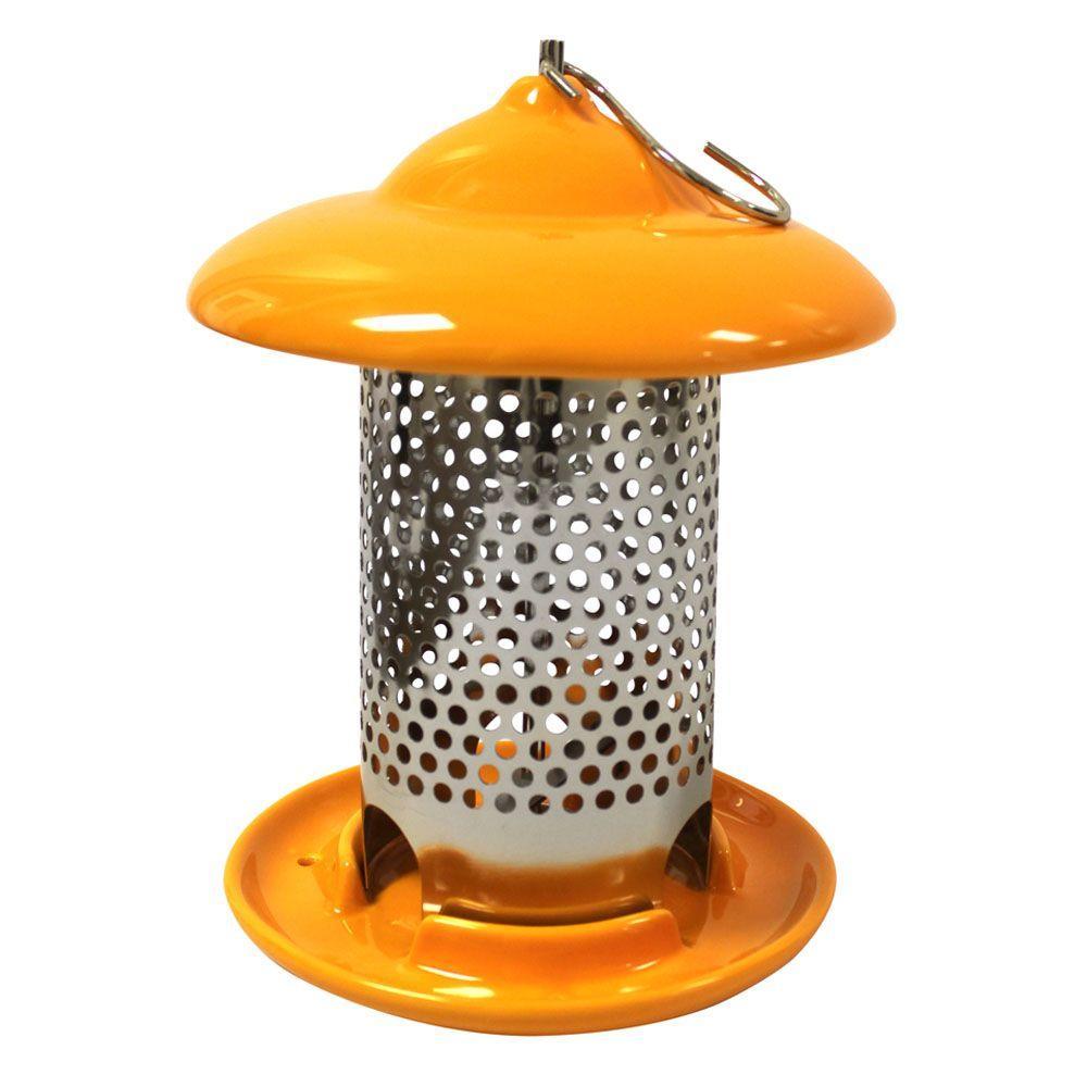 Bird Stop Orange Ceramic Wild Bird Feeder