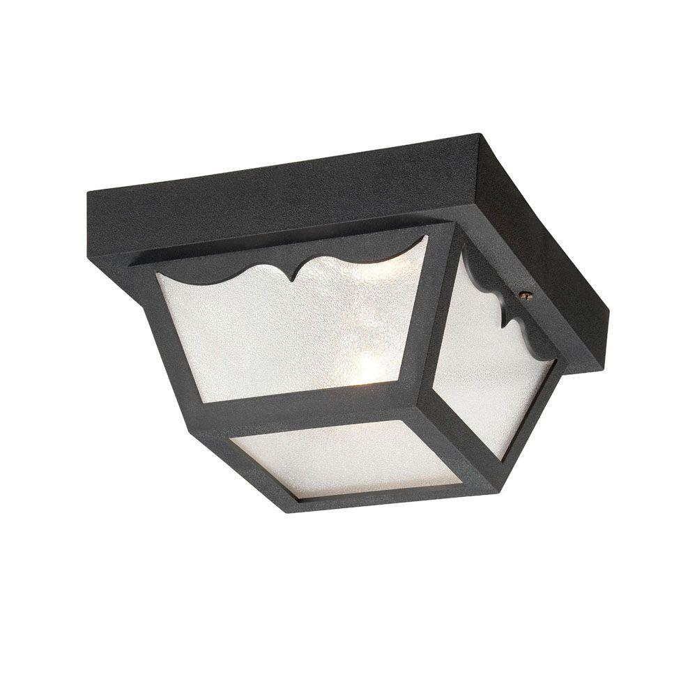 Durex Collection 1-Light Matte Black Outdoor Ceiling Mount Light Fixture