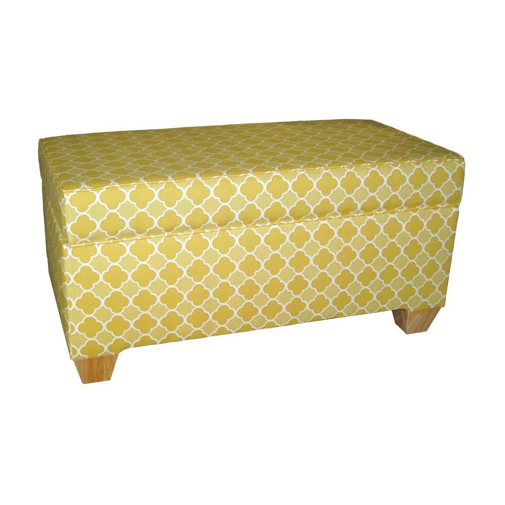 Home Decorators Collection Chatham Lemon Drop Upholstered Storage Bench-DISCONTINUED