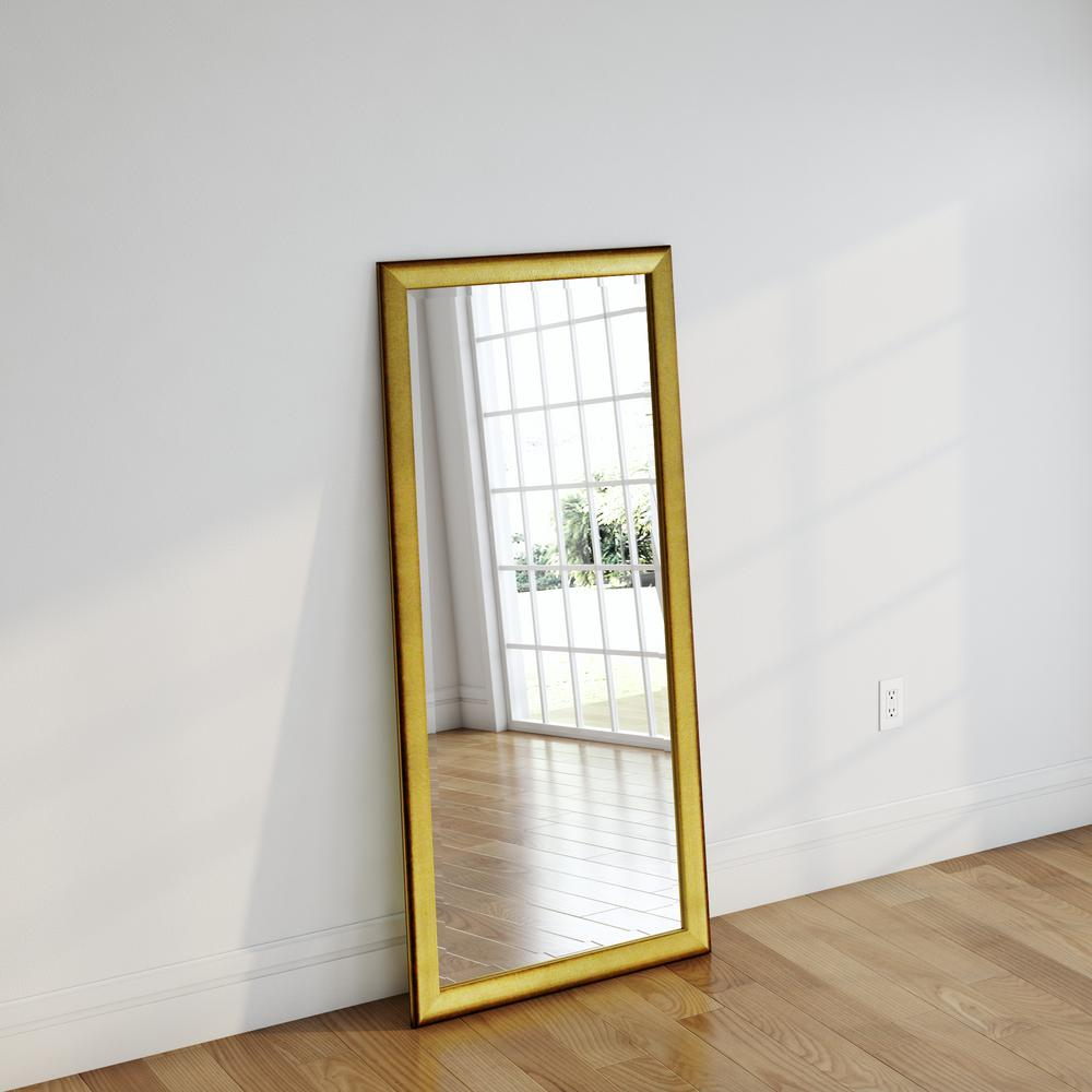 30 in. x 63 in. Vintage Gold Beveled Full Body Mirror