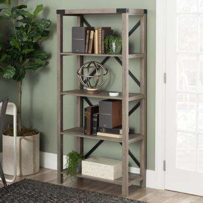 64 in. Grey Wash Farmhouse Wood and Metal Bookcase