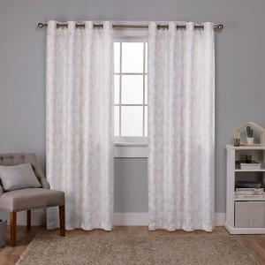 Watford Winter White Gold Distressed Metallic Print Thermal Grommet Top Window Curtain EH8249 02 2 84G