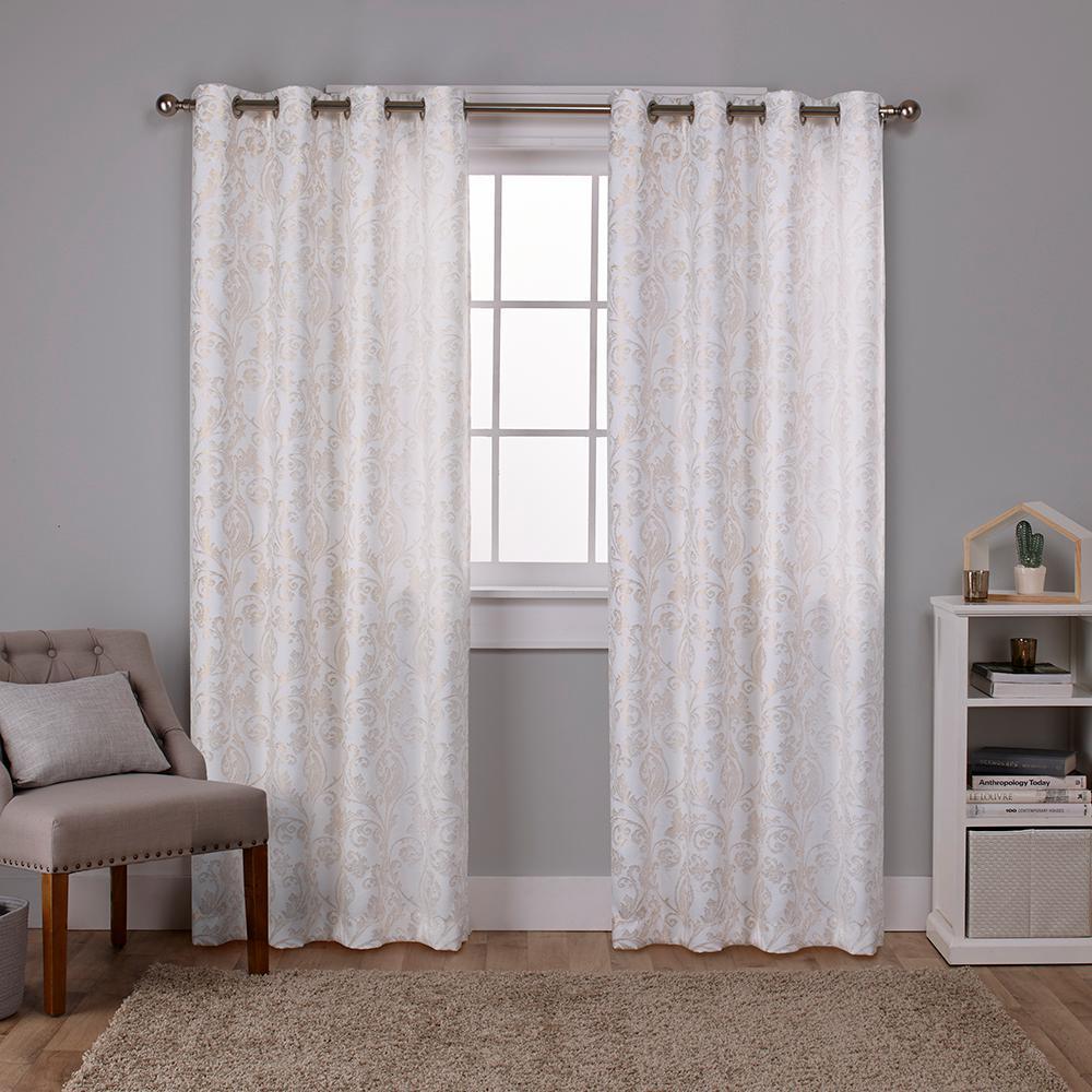 Watford Winter White Gold Distressed Metallic Print Thermal Grommet Top Window Curtain EH8249 02 2 84G