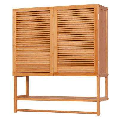 8.75 in. x 27.5 in. x 24 in. Ecostyles Bamboo Louvered Wall Cabinet with Shelf and Towel Bar