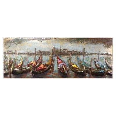 Wooden Boats Iron Multi-Colored Metal Work