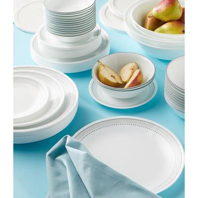 Classic 78-Piece Casual Mystic Gray Glass Dinnerware Set (Service for 12)
