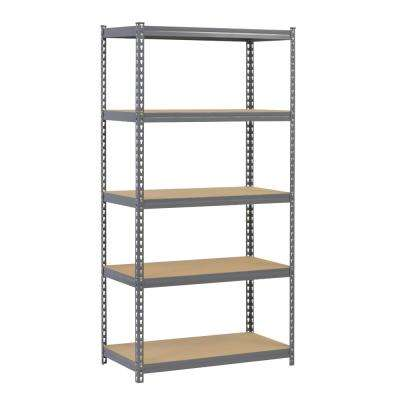 72 in. H x 36 in. W x 18 in. D 5 Shelf Steel Boltless Rivet Particle Board Shelving Unit in Gray