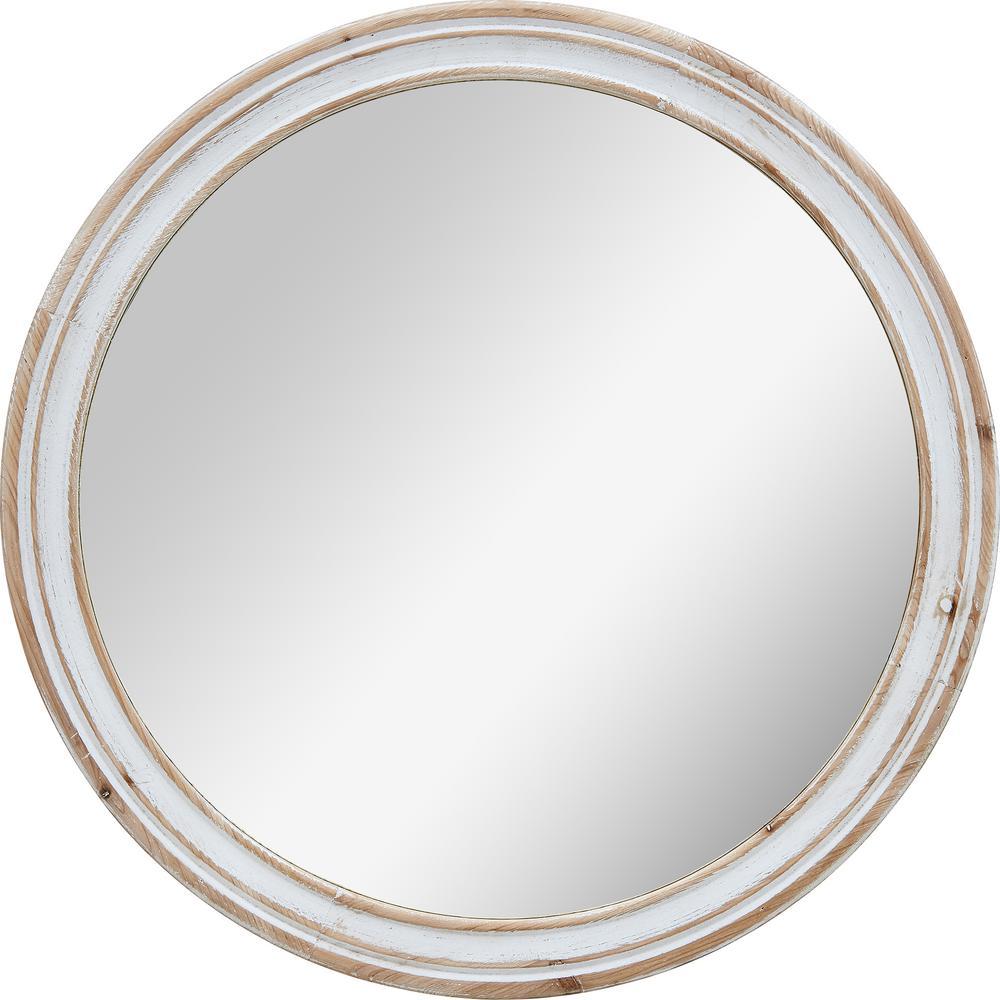 Medium Round Aged White Contemporary Mirror (30 in. H x 1 in. W)