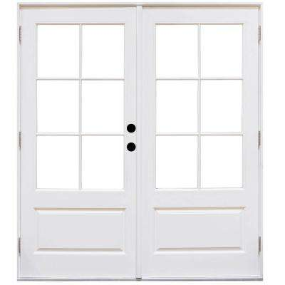 60 in. x 80 in. Fiberglass Smooth White Left-Hand Outswing Hinged 3/4-Lite Patio Door with 6-Lite SDL