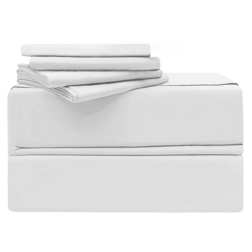 King 6 Piece White 620 Thread Count 100 Cotton Sheet Set Yms008192 The Home Depot