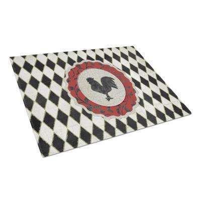 Rooster Harlequin Black and white Tempered Glass Large Heat Resistant Cutting Board