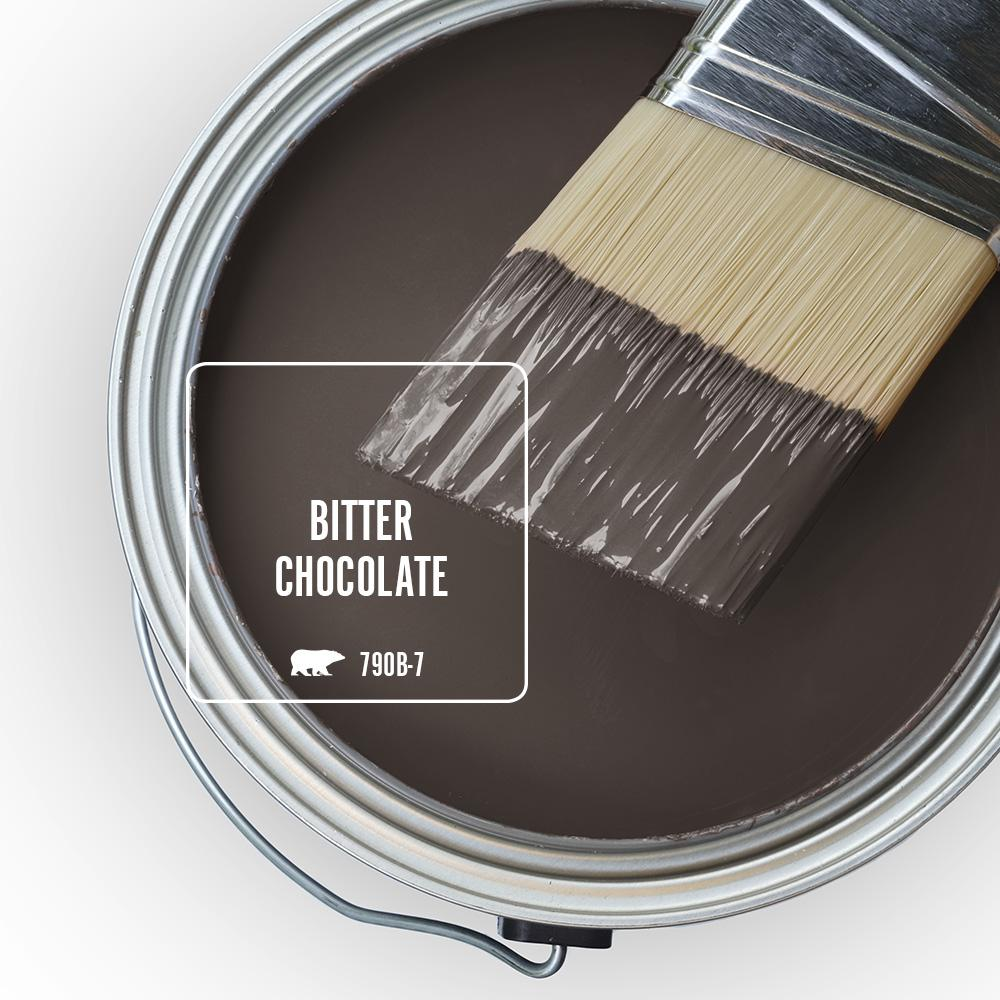 BEHR PREMIUM PLUS 8 oz. #790B-7 Bitter Chocolate Flat Interior Paint and Primer in One Sample