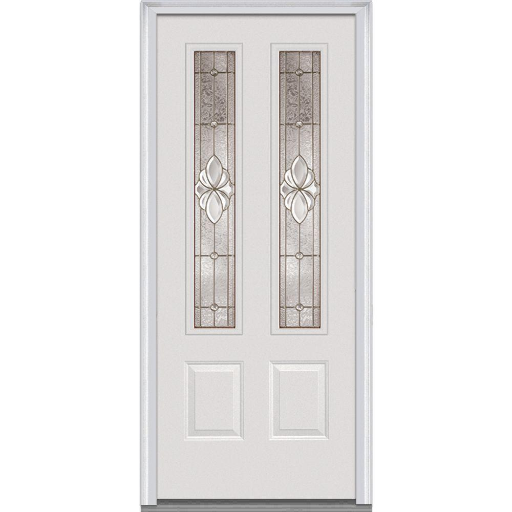 Milliken Millwork 36 in. x 80 in. Heirloom Master Decorative Glass 2 Lite 2-Panel Primed White Fiberglass Smooth Prehung Front Door
