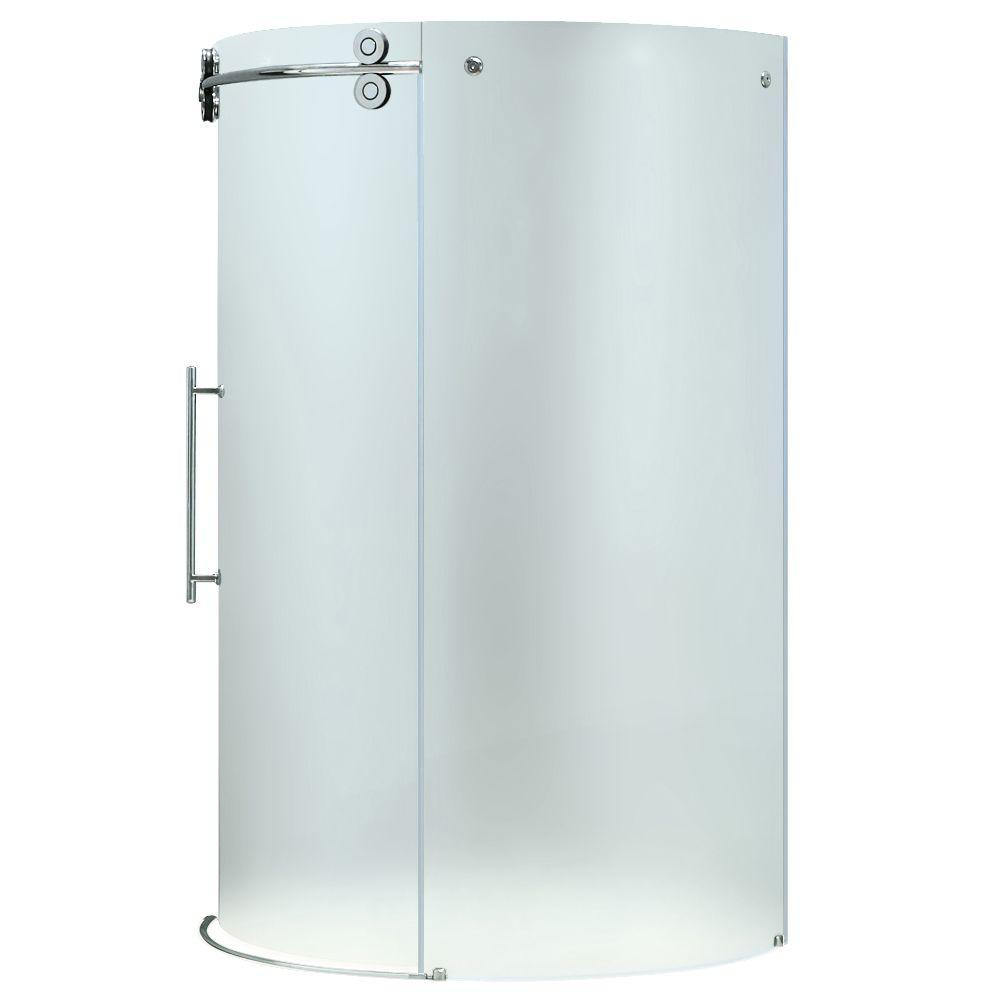 Vigo 42 in. x 73 in. Frameless Bypass Shower Enclosure in Chrome with Frosted Glass